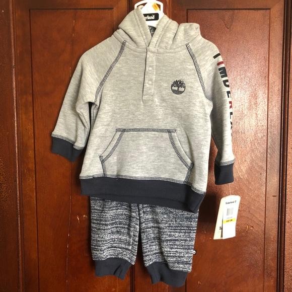 Timberland sweatshirt and sweatpants grey set baby